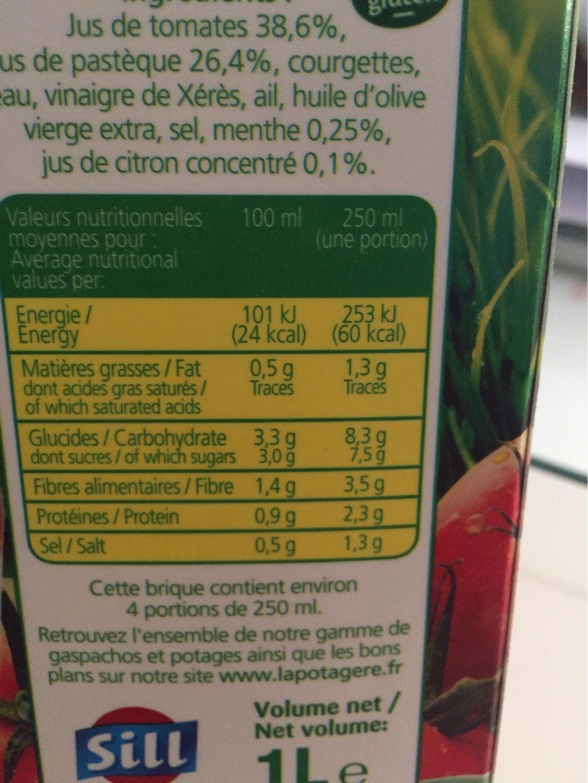 Gaspacho de tomates et pastèques LA POTAGERE, 1L - Informations nutritionnelles