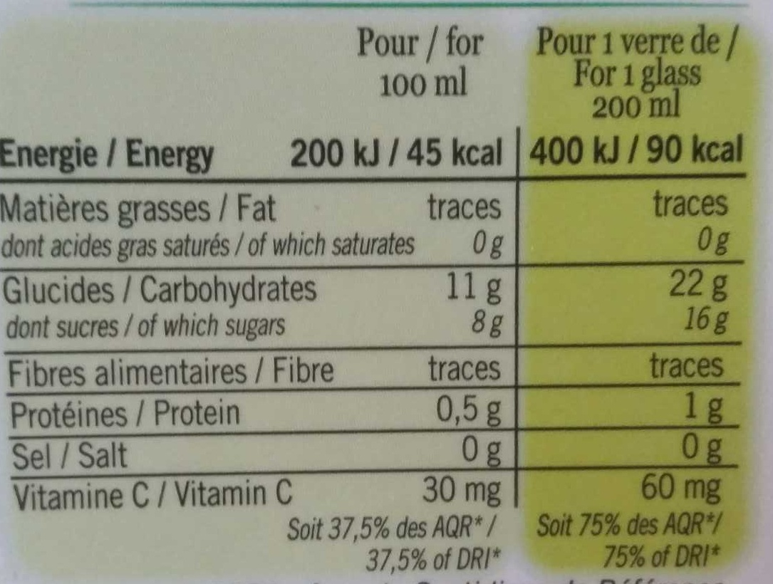 Premium Pur Jus Orange - Voedingswaarden - fr