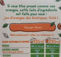 Orange douce 100% pur fruit pressé - Ingrédients - fr