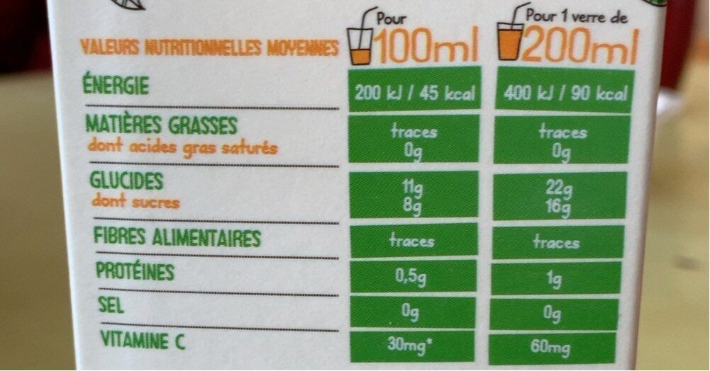 Orange douce 100% pur fruit pressé - Informations nutritionnelles - fr