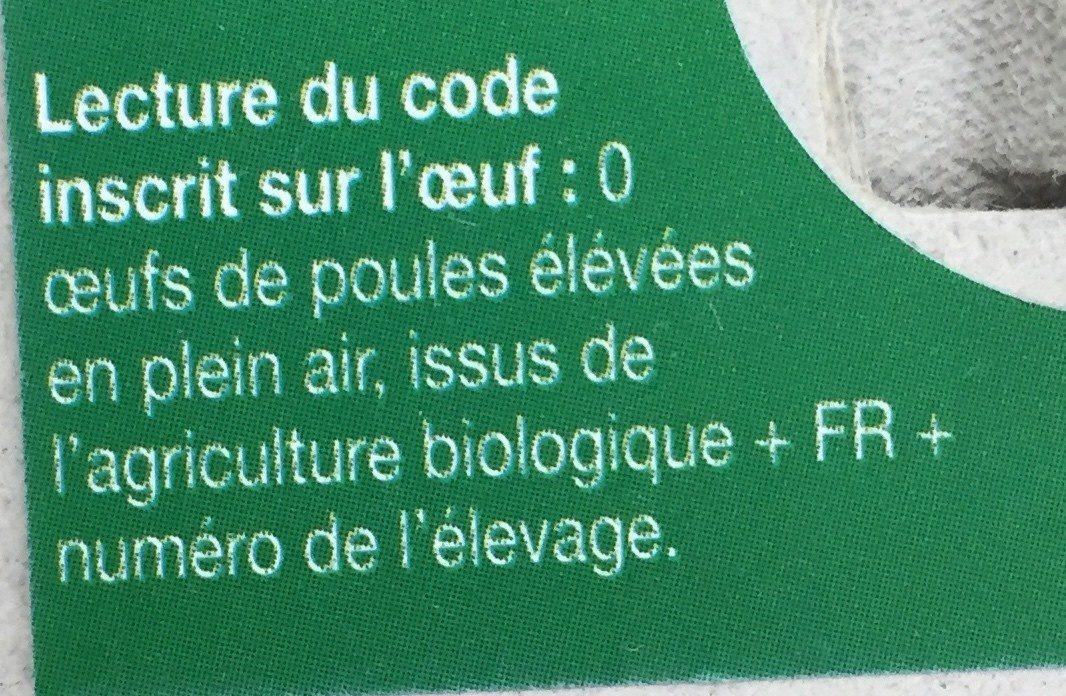 Œufs bio de poules élevées en plein air - Ingrediënten - fr