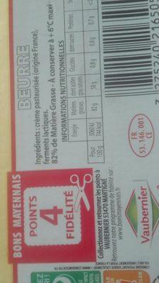 Beurre extra fin doux 82%mg Bon mayennais - Ingrédients