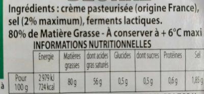 Bons Mayennais Beurre demi sel la plaquette de 250 g - Ingrédients
