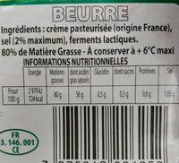Bons Mayennais Beurre demi sel la plaquette de 250 g - Informations nutritionnelles