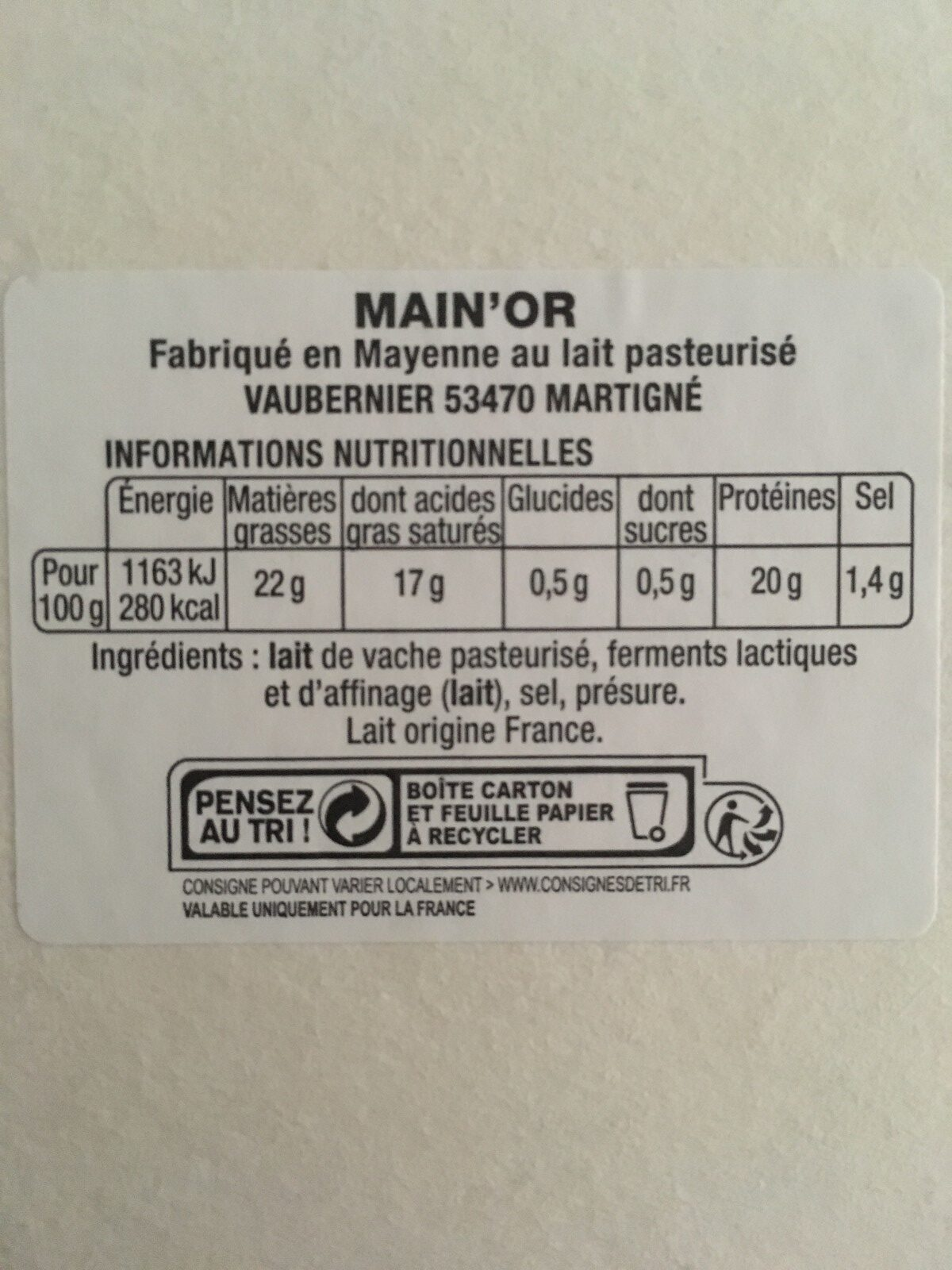 Camembert Main'Or - Ingrédients