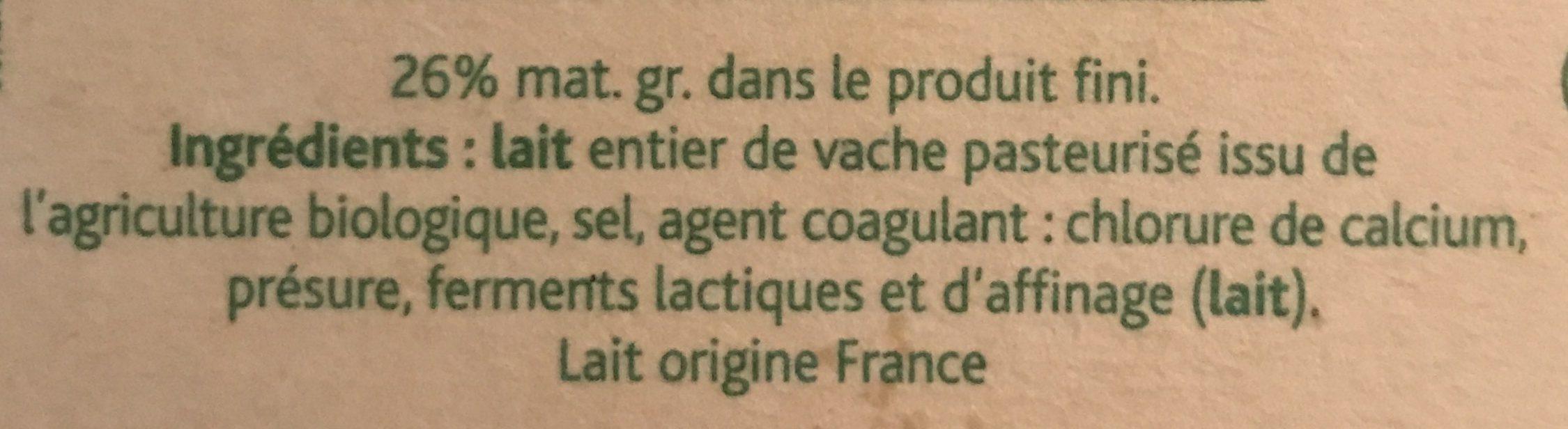 Camembert Bons Mayennais (26% MG) - Ingrédients - fr