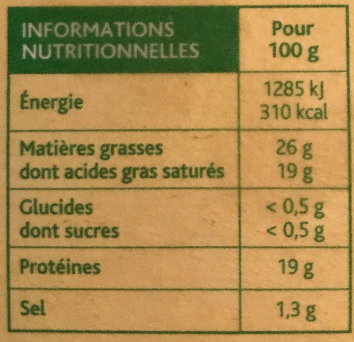 Camembert Bons Mayennais (26% MG) - Informations nutritionnelles - fr