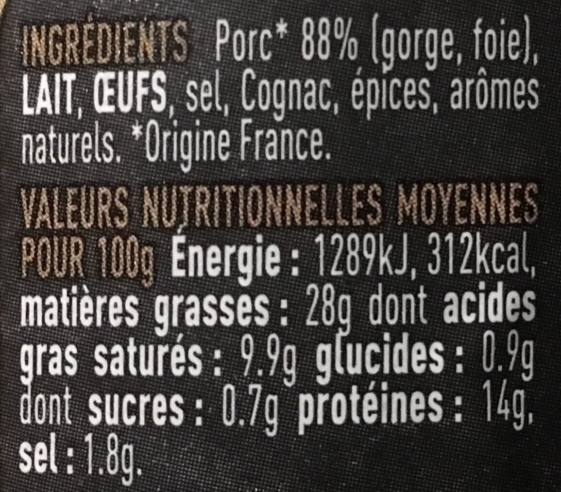 Terrine de campagne - Ingrédients - fr