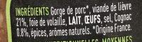 Terrine de Lièvre au Cognac - Inhaltsstoffe - fr