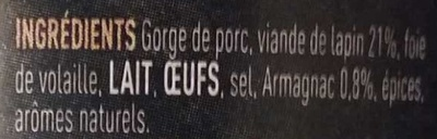 Terrine de lapin à l'armagnac - Ingrédients - fr