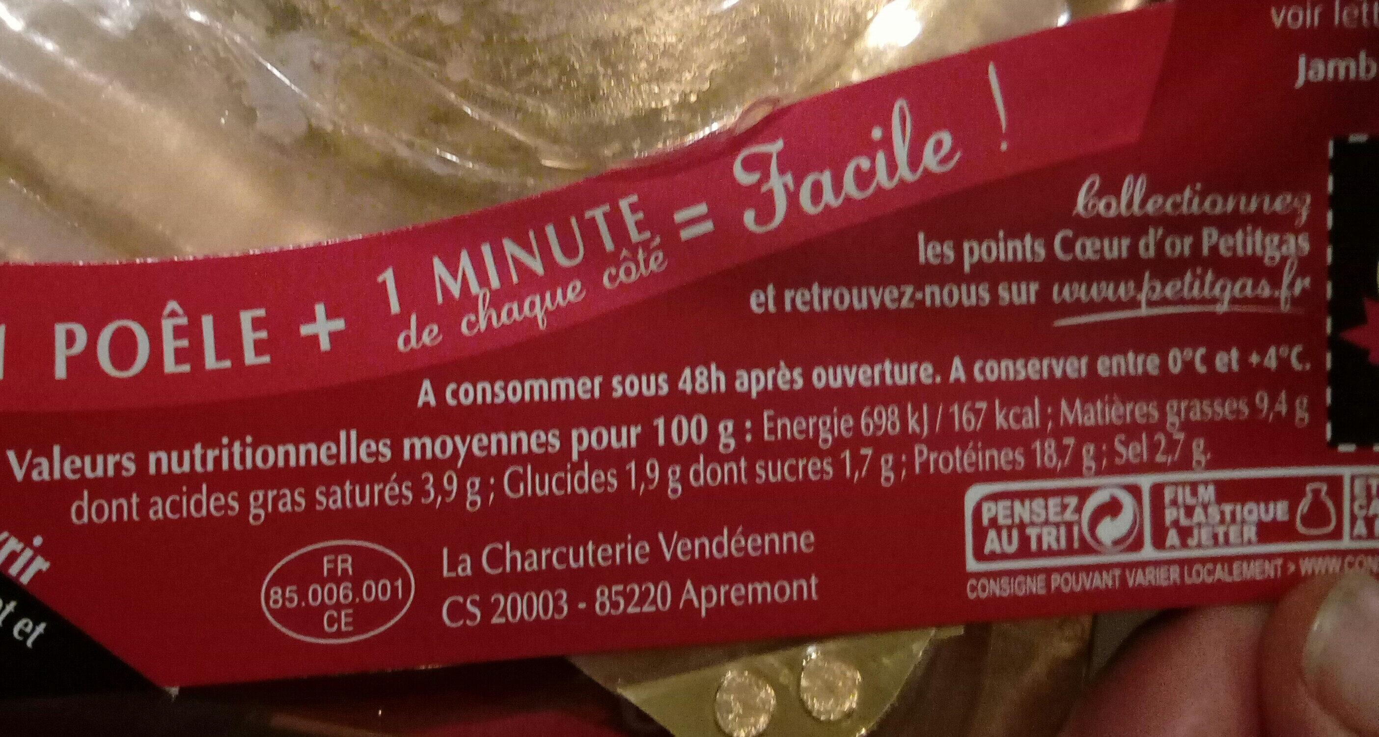 Le Jambon Fumé-Grill - Nutrition facts