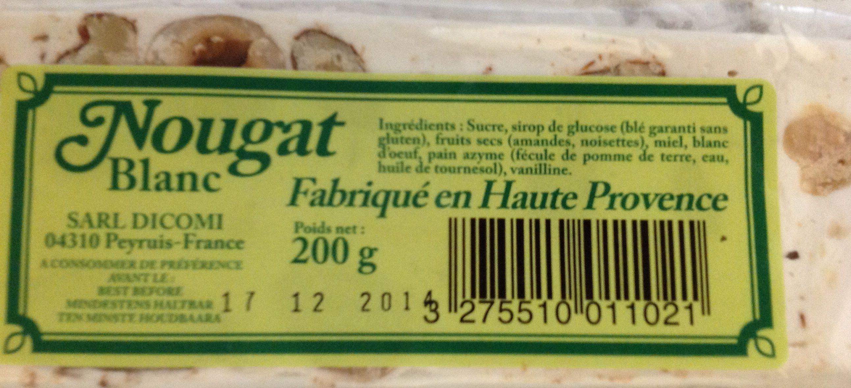 Nougat blanc fabrique en haute Provence - Produit