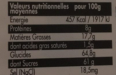 Nougat blanc fabrique en haute Provence - Nutrition facts
