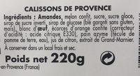 Reflet de Provence calissons reglette - Ingredients