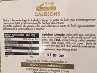 Calissons de provence - Nutrition facts - fr