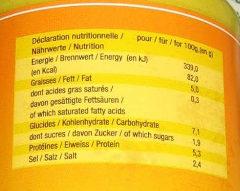 Moutarde d'Alsace Douce - Informations nutritionnelles