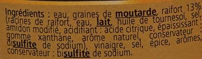 Moutarde douce au Raifort d'Alsace - Ingrédients