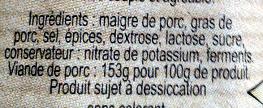 Saucisson sec supérieur à l'ancienne. Pur porc - Ingrediënten - fr