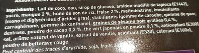 Assortiment de Mochis Glacés : Vanille, Mangue, Fraise,Cacao, Thé Vert, Sésame Noir - Ingrédients