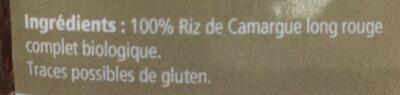 Riz Rouge Long Complet De Camargue 500g - Ingredients
