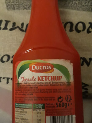 Tomate ketchup - Informations nutritionnelles