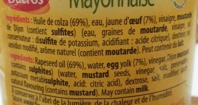 Mayonnaise 235 Grammes - Ingrédients - fr