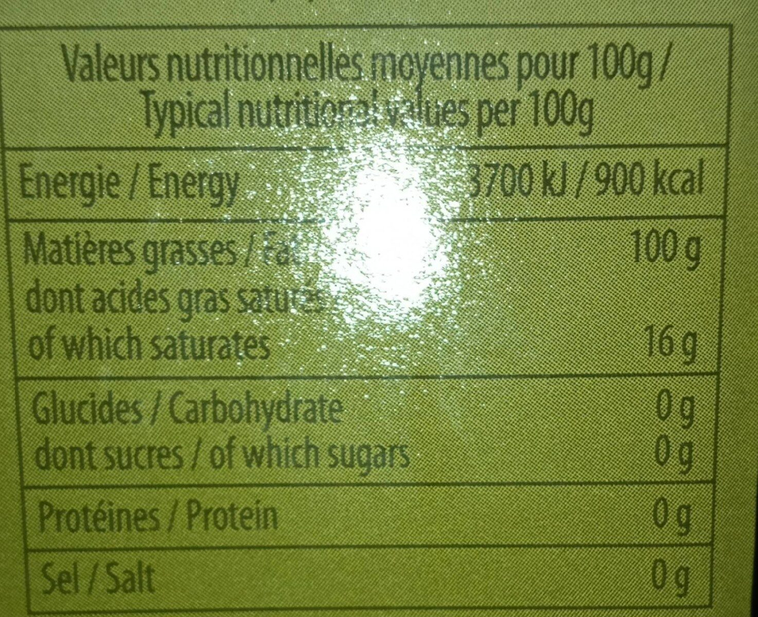 Huile d olive - Valori nutrizionali - fr