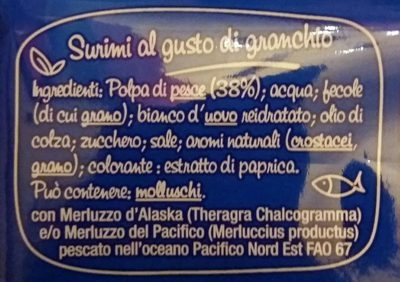Bâtonnets de la mer - Ingredienti - fr