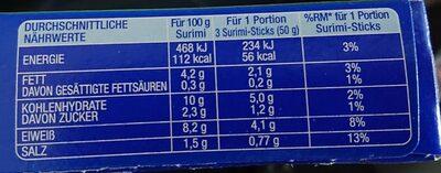 Surimi Sticks Ready To Eat - Nährwertangaben - fr