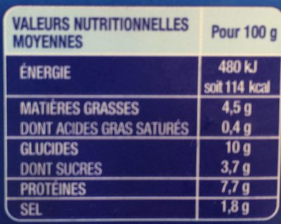 Bâtonnets Saveur - Informations nutritionnelles