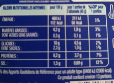 Coraya l'original - Valori nutrizionali - fr