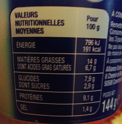 Surimi échalote et ciboulette Coraya - Nutrition facts - fr