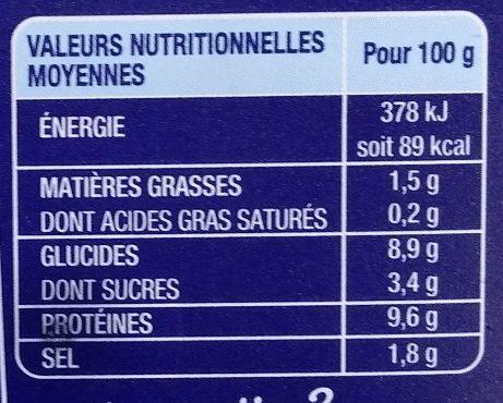Suprêmes au goût frais de Langouste - Nutrition facts