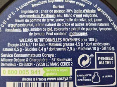 Suprêmes au Goût de Crabe - Informations nutritionnelles - fr