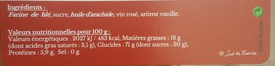 Les Biscuits de Mel Le Longué de Montpellier - Informations nutritionnelles - fr