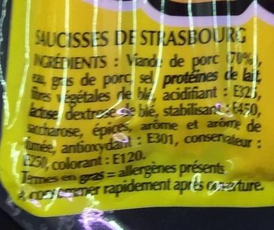 10 Saucisses de Strasbourg - Ingrédients