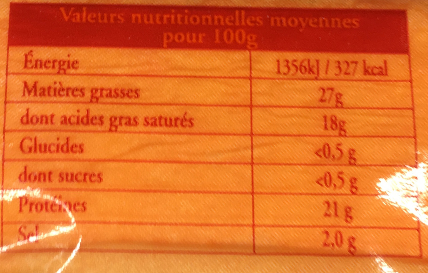 Quart Maroilles (27% MG) - Informations nutritionnelles - fr