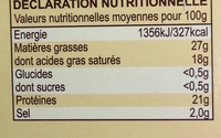 Maroilles (27% MG) - Informations nutritionnelles - fr