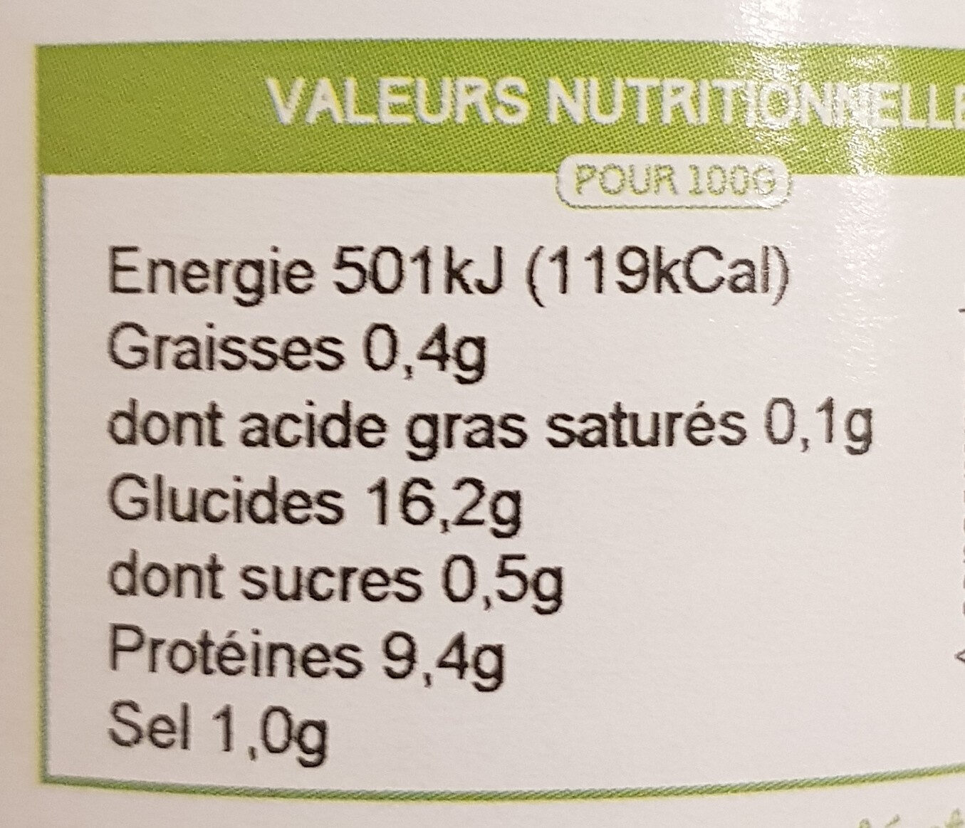 Lentilles au naturel - Valori nutrizionali - fr