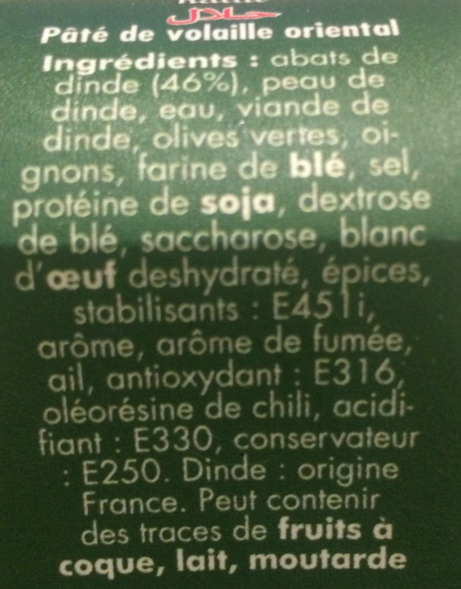 Pâté Oriental - Ingrediënten - fr