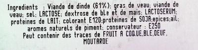 Saucisson de Dinde, Halal - Inhaltsstoffe - fr