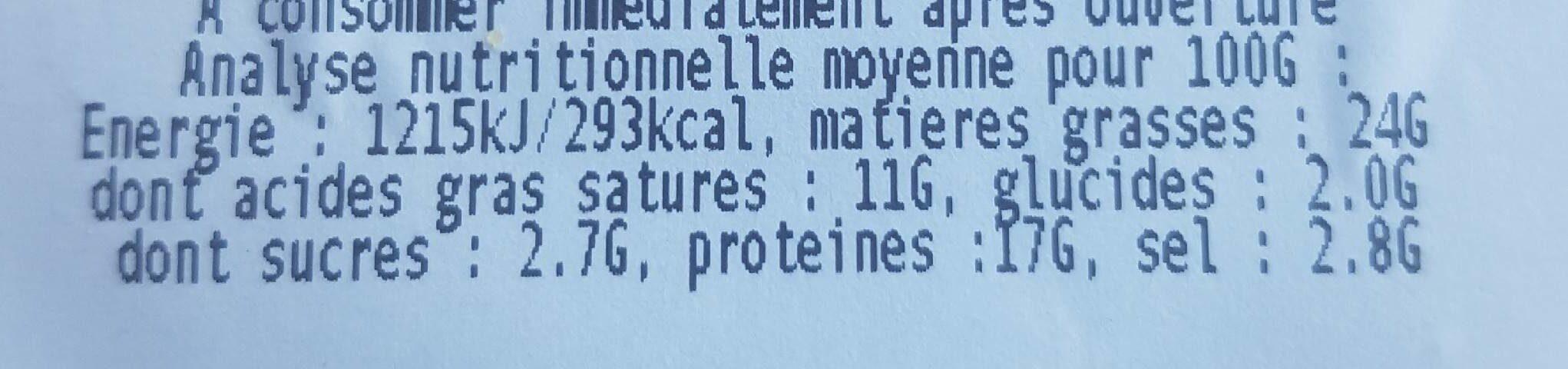 Saucisson de Dinde, Halal - Nährwertangaben - fr