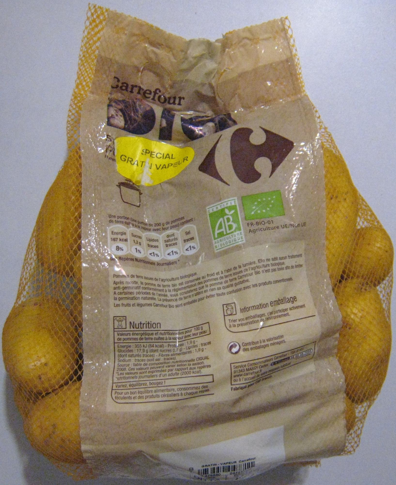 pommes de terre sp cial gratin vapeur bio carrefour 2 5 kg. Black Bedroom Furniture Sets. Home Design Ideas