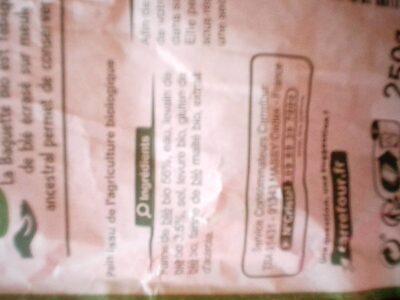 Baguette bio - Valori nutrizionali - fr