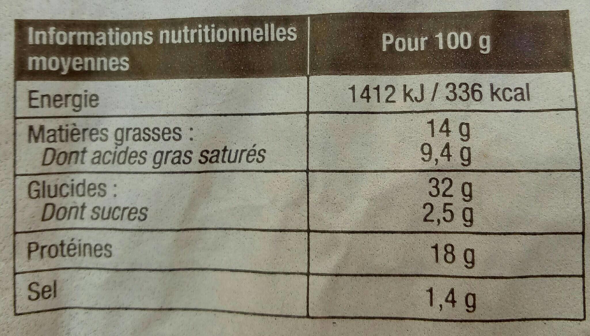 Fougassette Thon - Informations nutritionnelles