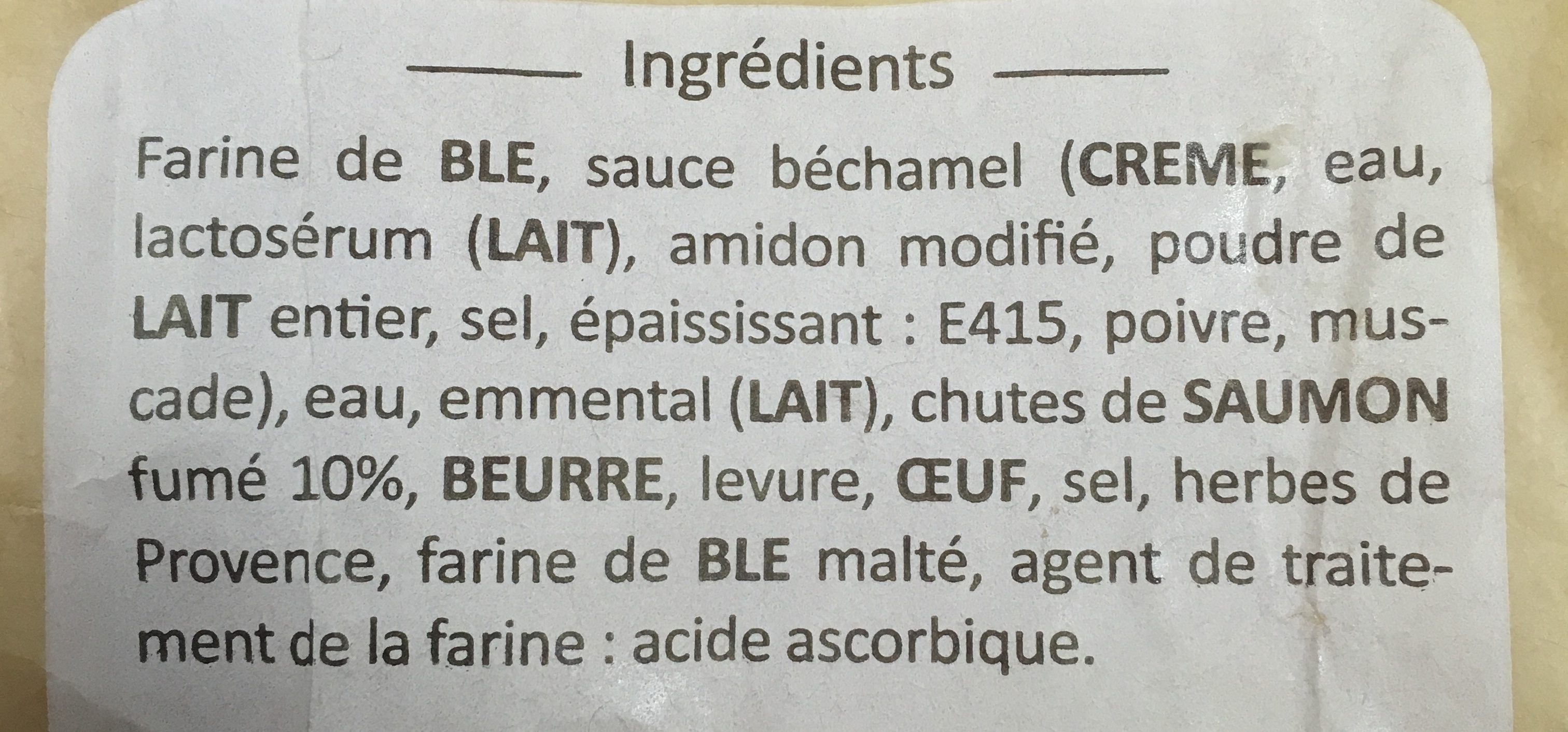 Fougassette Saumon - Ingredients