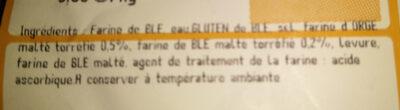 Pain paysan - Ingredienti - fr