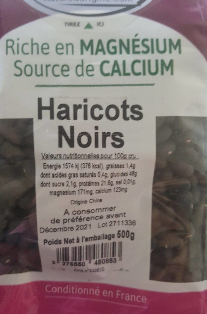 Haricots noirs - Voedingswaarden - fr