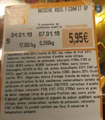 Brioche Rois Fruits Confits - Ingredienti - fr