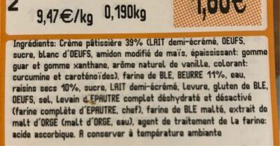 Pain aux raisins X2 - Informations nutritionnelles - fr